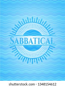Sabbatical light blue water wave style emblem.