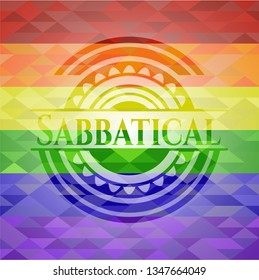 Sabbatical on mosaic background with the colors of the LGBT flag