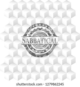 Sabbatical realistic grey emblem with geometric cube white background