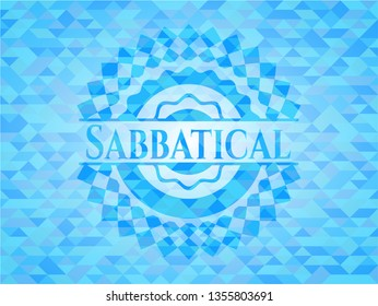 Sabbatical realistic sky blue emblem. Mosaic background
