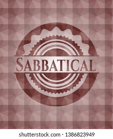 Sabbatical red emblem with geometric pattern. Seamless.