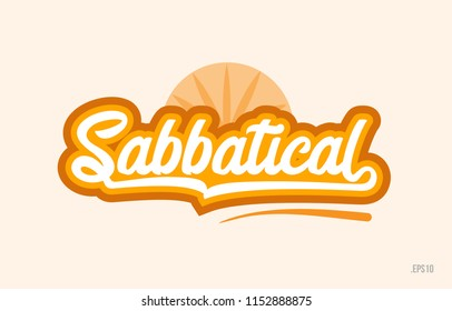 sabbatical word with orange color suitable for card icon or typography logo design