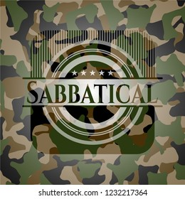 Sabbatical written on a camo texture