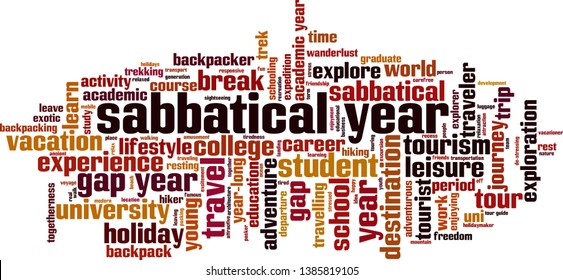 Sabbatical year cloud concept. Collage made of words about sabbatical year. Vector illustration