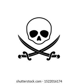 saber and skull icon black vector halloween illustration