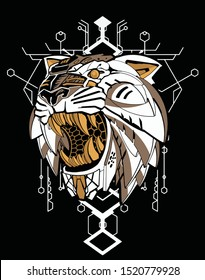 saber tooth tiger robot with sacred geometry