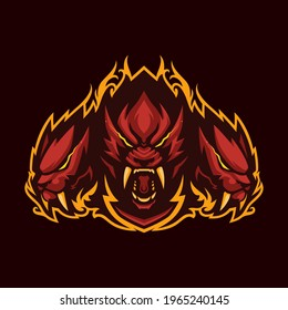 Saber toothed cerberus mascot logo. Logo for esport, gaming and sport.
