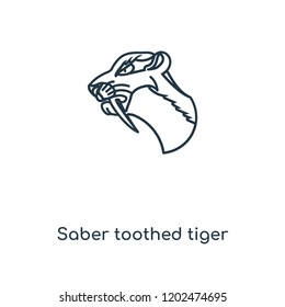 Saber toothed tiger concept line icon. Linear Saber toothed tiger concept outline symbol design. This simple element illustration can be used for web and mobile UI/UX.
