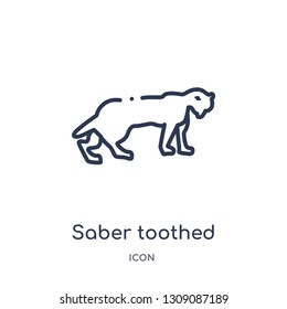 saber toothed tiger icon from stone age outline collection. Thin line saber toothed tiger icon isolated on white background.