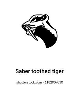 Saber toothed tiger icon vector isolated on white background, logo concept of Saber toothed tiger sign on transparent background, filled black symbol