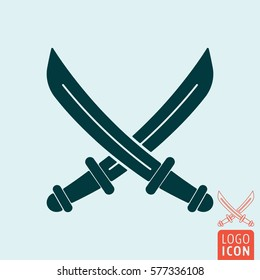 Sabers icon. Crossed pirate sword or knives. Vector illustration.