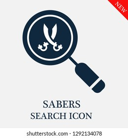 Sabers search icon. Editable Sabers search icon for web or mobile.