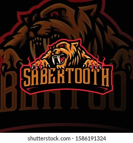 sabertooth mascot logo esport gaming. tiger mascot logo illustration.