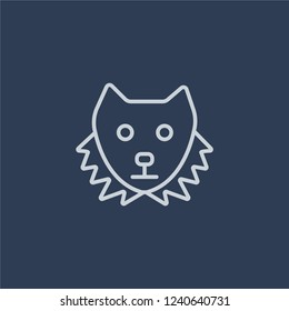Sable icon. Trendy flat vector line Sable icon on dark blue background from animals  collection.