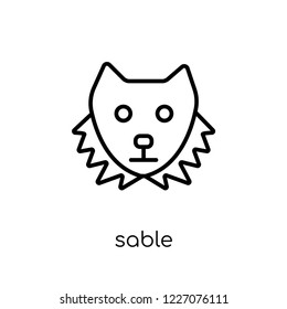 Sable icon. Trendy modern flat linear vector Sable icon on white background from thin line animals collection, editable outline stroke vector illustration