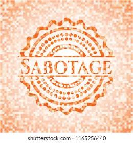 Sabotage abstract orange mosaic emblem with background