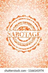 Sabotage abstract orange mosaic emblem