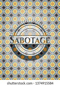 Sabotage arabic badge. Arabesque decoration.