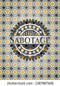 Sabotage arabic emblem. Arabesque decoration.
