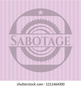 Sabotage badge with pink background