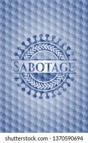 Sabotage blue badge with geometric background.