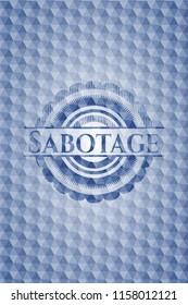 Sabotage blue badge with geometric pattern.