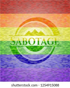 Sabotage emblem on mosaic background with the colors of the LGBT flag