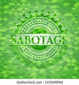 Sabotage green emblem with mosaic ecological style background