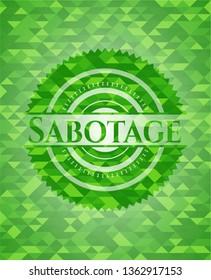 Sabotage green emblem with triangle mosaic background