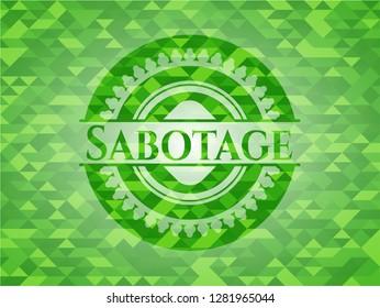 Sabotage green mosaic emblem