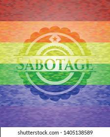 Sabotage lgbt colors emblem. Vector Illustration. Mosaic.