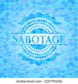 Sabotage light blue emblem with triangle mosaic background