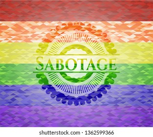 Sabotage on mosaic background with the colors of the LGBT flag