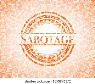 Sabotage orange tile background illustration. Square geometric mosaic seamless pattern with emblem inside.