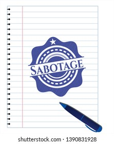 Sabotage pen draw. Blue ink. Vector Illustration. Detailed.
