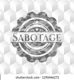 Sabotage realistic grey emblem with cube white background