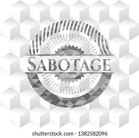 Sabotage realistic grey emblem with geometric cube white background