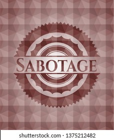 Sabotage red emblem or badge with geometric pattern background. Seamless.