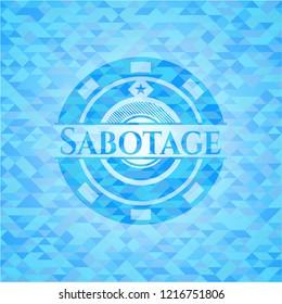 Sabotage sky blue emblem with mosaic background
