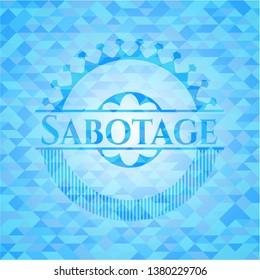 Sabotage sky blue emblem with mosaic ecological style background