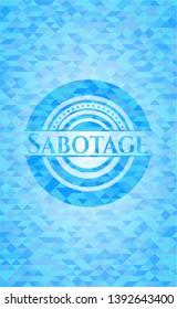 Sabotage sky blue emblem. Mosaic background