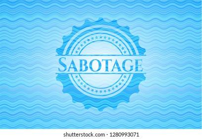 Sabotage sky blue water style badge.