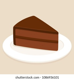 Sachertorte, traditional Austrian chocolate cake with ganache frosting. Slice of cake on plate vector illustration.