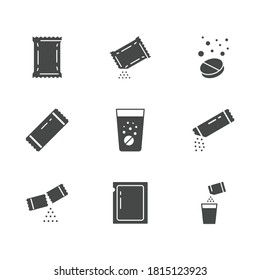 Sachet glyph icons. Vector illustration included icon as sugar powder packet, soluble pill, effervescent effect outline pictogram for medicine. Black color silhouette.
