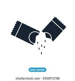 Sachet icons. sugar powder packet icon. Packet soluble powder symbol Vector illustration