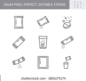 Sachet line icons. Vector illustration included icon as sugar powder packet, soluble pill, effervescent effect outline pictogram for medicine. 64x64 Pixel Perfect Editable Stroke.
