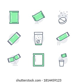 Sachet line icons. Vector illustration included icon as sugar powder packet, soluble pill, effervescent effect outline pictogram for medicine. Green color, Editable Stroke.