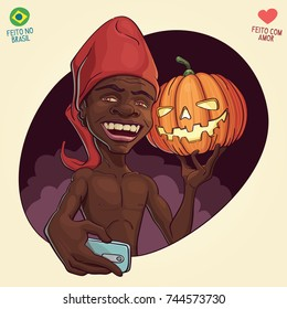 Saci Perere, brazilian folklore legend and Jack O'Lantern shoting a selfie to celebrate october 31th, both Hallloween and Saci's day - Translation: Made in Brazil - Made with Love