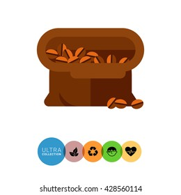 Sack of coffee beans icon