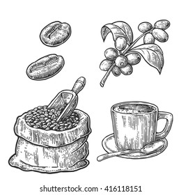 Sack with coffee beans with wooden scoop, cup, branch with leaf and berry. Hand drawn sketch style. Vintage vector engraving illustration for label, web.  Isolated on white background.